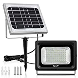 [Updated]Solar LED Flood Light Outdoor 60 LED Security Flood Light Cly,IP66 Waterproof,300 Lumens Floodlights,Auto-Induction Solar Power Light for Lawn,Yard,Garden (Daylight White)
