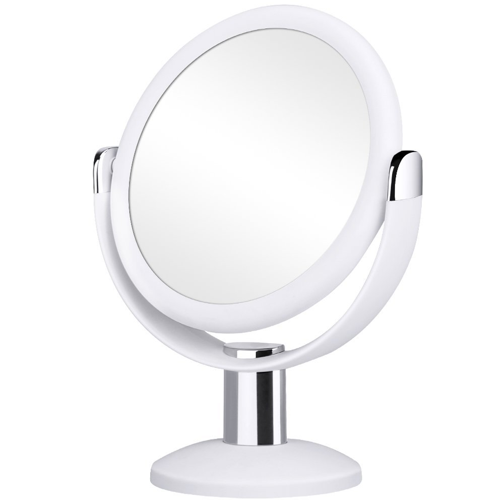 Orange Tech 1X & 10X Double Sided Magnified Makeup Mirror, Magnifying Vanity Mirror with 360 Degree Rotation for Bathroom or Bedroom Table Top - White