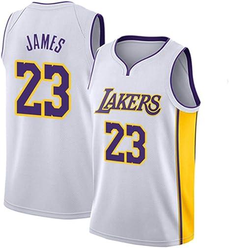 WANLN Maillot De Baloncesto Lebron James # 23 para Hombre, NBA Lakers, Maillot Swingman, Tela Bordada, Transpirable Y De Secado Rápido,Blanco,S
