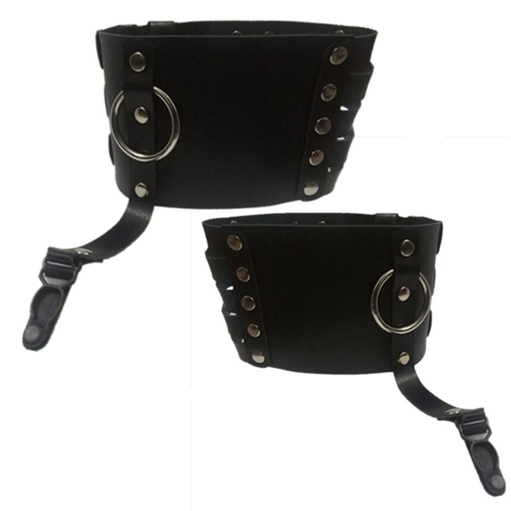 Ceiero Women Adjustable Leg PU Leather Harness Punk Gothic Garter Belt