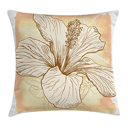 Floral Throw Pillow Cushion Cover by Ambesonne, Large Hibiscus Flower Petals Blooms in Soft Pastel Tones Wild Exotic Plant Print, Decorative Square Accent Pillow Case, 18 X18 Inches, Peach (Hibiscus Pillow)