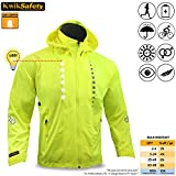 KwikSafety Yellow Firefly Racing LED Cycling Jacket | Hi VIS Reflective & Luminous Biker Safety Gear | Waterproof Windproof Reflective Windbreaker | Long Sleeve Motorcycle Cycle Gear | Large