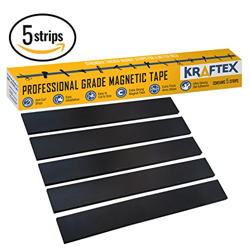 NEW #1 Magnetic Tape [Extra Strong Premium Grade] Magnet Strips - with 3M Adhesive Backing for Walls, Boards, Crafts, Storage, DIY, Home, Garage & Displays [Heavy Duty Thicker Roll] 32mm Wide – 5 (2 Side House Banner)