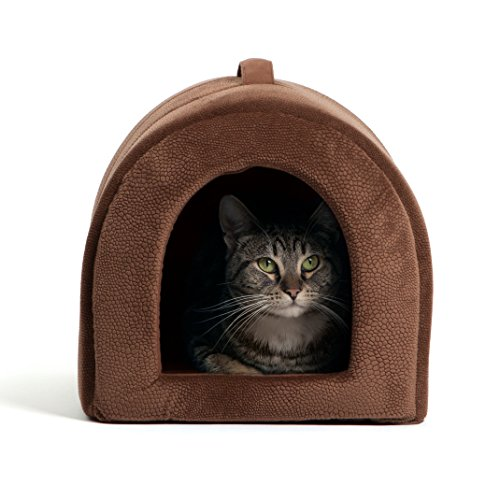 """51ADHHt%2BbhL - Best Friends by Sheri Pet Igloo Hut, Sherpa / Ilan / Lux - Cat and Small Dog Bed Offers Privacy and Warmth for Better Sleep - Waterproof, Dirt-Resistant Bottom, Washer and Dryer Safe - 17x13x12"""" - For Pets 9lbs or Less"""