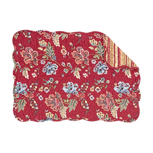 C&F Home Lizbeth Red Blue Floral Flower Place Mats Rectangular Cotton Quilted Reversible Washable Placemat Set of 6 Rectangular Placemat Set of 6 Lizbeth
