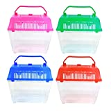 Small Plastic Aquarium With A Lid And Handle Great For Traveling - Pack Of 4 Aquariums For Small Critters Fish And More
