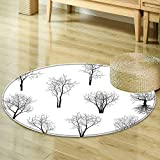 Round Rug Kid Carpet Apartment Decor Spooky Horror Movie Themed Branches Forest Trees Nature Art Print Black and White Home Decor Foor Carpe R-24