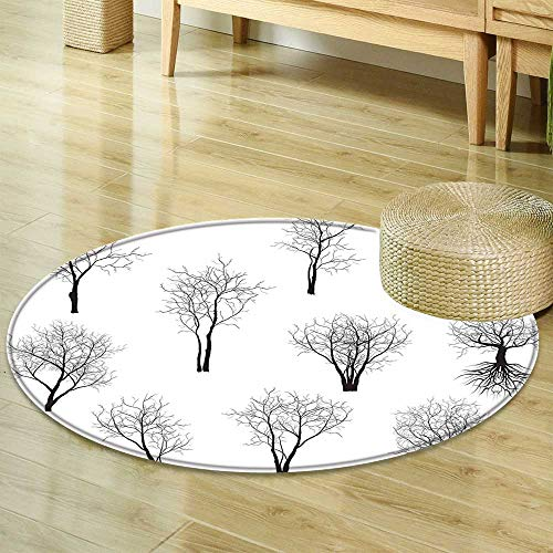 Round Rug Kid Carpet Apartment Decor Spooky Horror Movie Themed Branches Forest Trees Nature Art Print Black and White Home Decor Foor Carpe R-24 by Mikihome