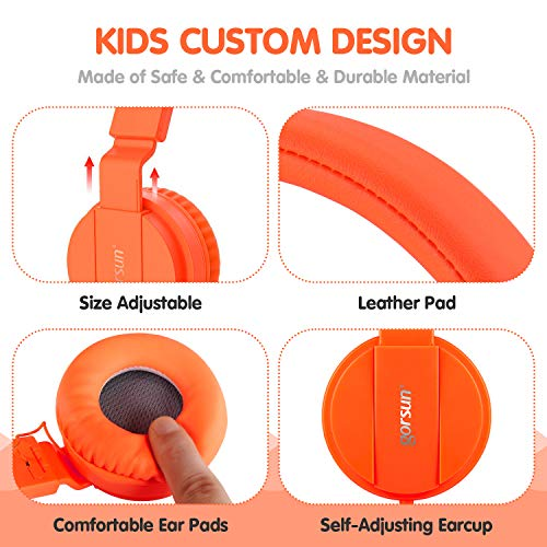 ONTA gorsun Foldable On Ear Audio Adjustable Lightweight Headphone for chlidren Cellphones Smartphones iPhone Laptop Computer Mp3/4 Earphones (Orange) by ONTA (Image #3)