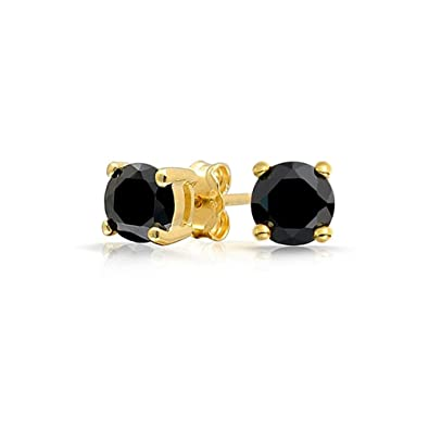 1d76b192a Image Unavailable. Image not available for. Color: .5CTW Black Round Stud  Earrings ...