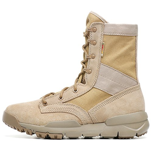 XIANG GUAN Femmes Outdoor Haute Haut Imperméable Respirant Sécurité Bottes Tactical Combat Sports Antidérapant Boots Dames Lace-up Trekking Randonnée Chaussures Tan LwuAGC