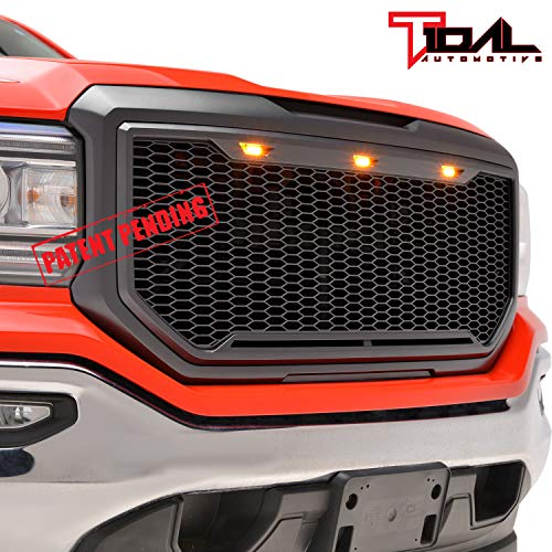 Tidal Replacement Upper Grille Front Honeycomb Grill With Amber LED Lights - Matte Black for 16-18 GMC Sierra 1500 Diamond Plate Hood Vent