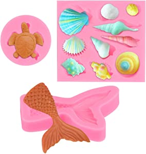 ATPWONZ Mini Sea Series Theme Cake Fondant Mold, Seashells Turtle Fondant Silicone Mold and Mermaid Tail Candy Cupcake Mold for Chocolate, Fondant, Polymer Clay, Soap, Crafting Projects & Cake Décor