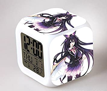 Amazon.com : Creative Anime Date A Live Saat Action Figures Alarm Clock Cute LED 7 Colors Change Digital Reloj Despertador Night Glowing Toys : Baby