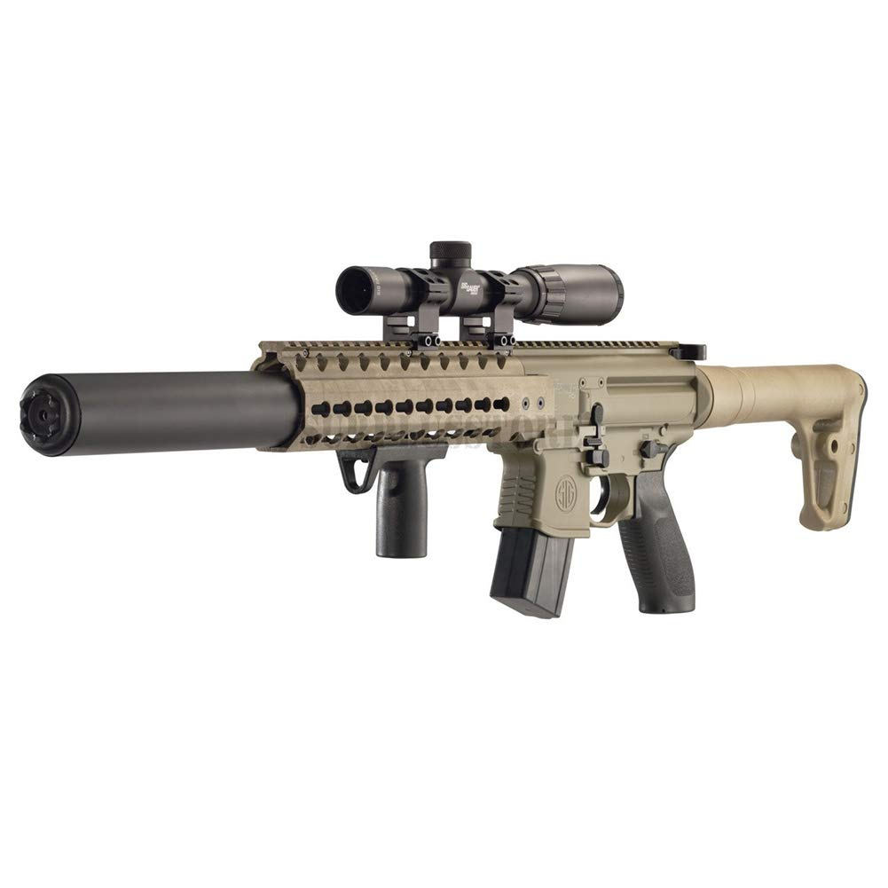 Sig Sauer MCX .177 Cal Co2 Powered (30 Rounds) 14x 24mm Scope Air Rifle, Flat Dark Earth (CO2 Not Included) by Sig Sauer