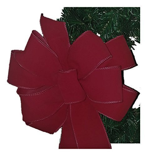 12 Red Christmas Bows Special Offer (6.59 each) FREE SHIPPING Red Velvet Wired Edge Christmas Bow 10