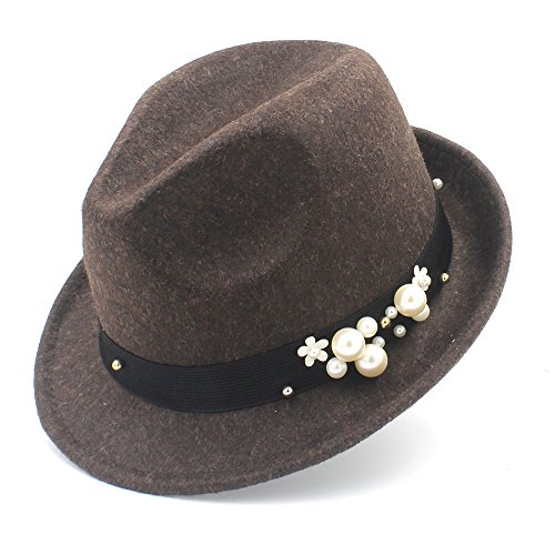 Brim Homburg - Wool Hat, 100% Wool Women Felt Fedora Hat For Elegant Lady Gangster Trilby Homburg Panama Jazz Caps, by jdon-hats, (Color : Coffee, Size : 57-58cm)