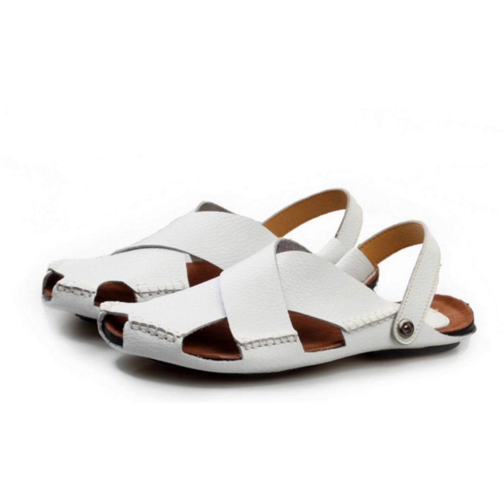 Qingqing Männer Offene Kappe Sandalen Casual Leder Bequeme Schuhe Sandalen Kappe Wanderschuhe Strand Schuhe geeignet für Innen- und Outdoor-Freizeit-Sport Herren LederSandale geschlossen schweißabsorbiere Weiß 272b3a