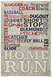 Stupell Home Décor Red White and Blue Baseball Typog Wall Plaque Art, 10 x 0.5 x 15, Proudly Made in USA