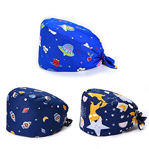 3 Packs Surgical Scrub Hats Unisex Medical Hats for Women Men Breathable Nurse Scrub Caps Sweatband Cotton Doctor Caps