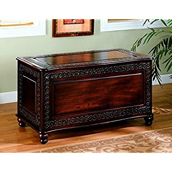 Coaster Home Furnishings Traditional Cedar Lined Storage Trunk Hope Chest    Deep Tobacco