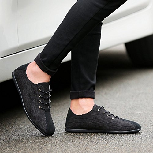 TDA Mens New Fashion Lightweight Lace Up Leather Driving Business Loafers Sneaker Black NbNIa3jKQl