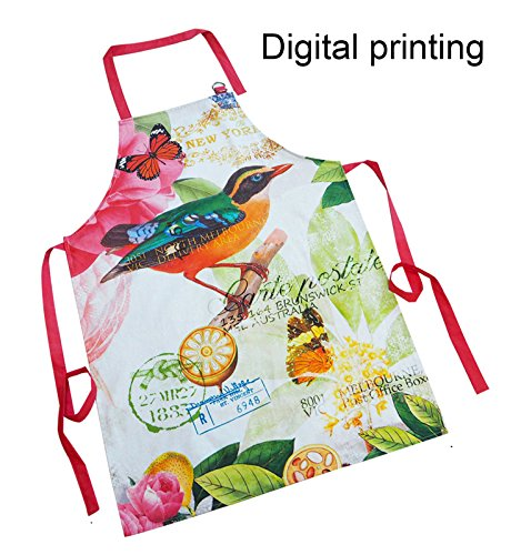 Adjustable Bib Aprons for Men and Women,Adjustable Neck Strap and Extra Long Ties,100% Cotton Twill Fabric with Digital Printing Bird Design kitchen chef cooking Aprons for baking, Crafting (24x34