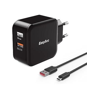 [Quick Charge 2.0] EasyAcc 30 W 2 Puerto USB Cargador con Quick Charge a una salida para Galaxy S6/S6 Edge/Edge +, Nexus 6, iPhone iPad – Negro