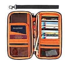 IntiPal Travel Passport Holder Organizer - RFID Blocking Passport Wallet - Document Credit Debit Card Holders Bag