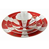Bone China Ceramic 4-Piece Chinese Auspicious Patterns Dinnerware Set,Brave Troops,Magpie,Paddy,Red