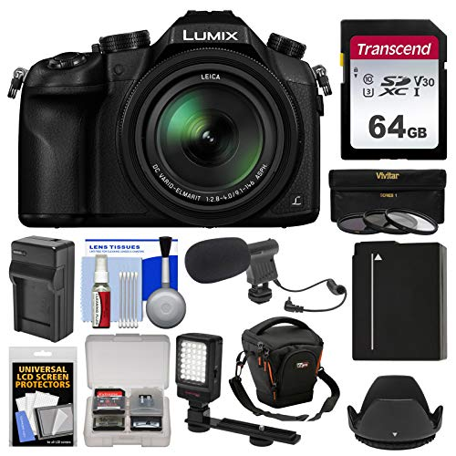 - Panasonic Lumix DMC-FZ1000 4K QFHD Wi-Fi Digital Camera with 64GB Card + Case + LED Light + Microphone + Battery/Charger + 3 Filter Kit