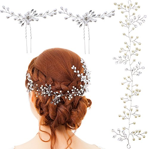 BBTO 6 Pieces Wedding Bridal Hair Pins, Crystal Rhinestone Headband, Wedding Crown Hair Jewelry Hair Accessories for Women and Girls (Silver)