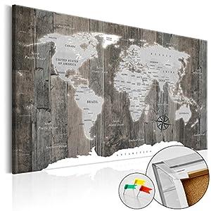 murando Tablero De Corcho & Cuadro en Lienzo 120×80 cm No Tejido XXL Estampado Memoboard Decoración De Pared Impresión Artística Fotografía Gráfica Poster Mapamundi k-C-0050-p-c