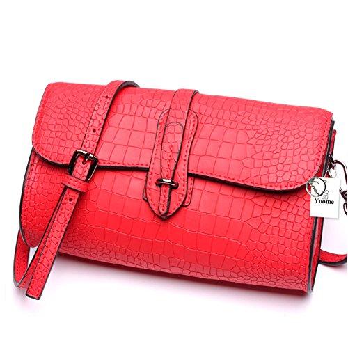 Con Pelle Bovina Designer Grigio A Donna Moda Borse Rosso Cartelle Da Tracolla Yoome Di Croco AwzSxqq7