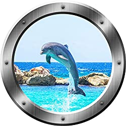 "Dolphin Porthole Porpoise Wall Decal 3D Sticker Sea Life Wall Decor VWAQ-SP30 (14"" Diameter)"