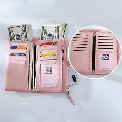 女性のフェイクレザートリフォールド22カードスロットウォレットカジュアルソリッド電話財布ロングウォレット YZUEYT