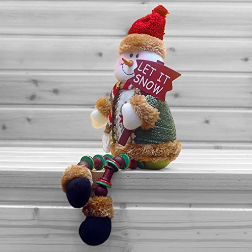 (Christmas Decorations Sitting Father Christmas Santa Claus Snowman Figure Plush Toy Doll Christmas Party Tree Hanging Decor Home Indoor Table Fireplace Shelf Sitter Figurine Ornament Decoration Gifts)