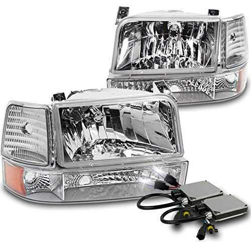 1992-1996 Ford Bronco / F-150 / F-250 / F-350 Crystal Headlights with Bumper Lights + Corner Lights + 6000K HID Conversion Kit - Chrome - 96 Ford F350 Corner Light
