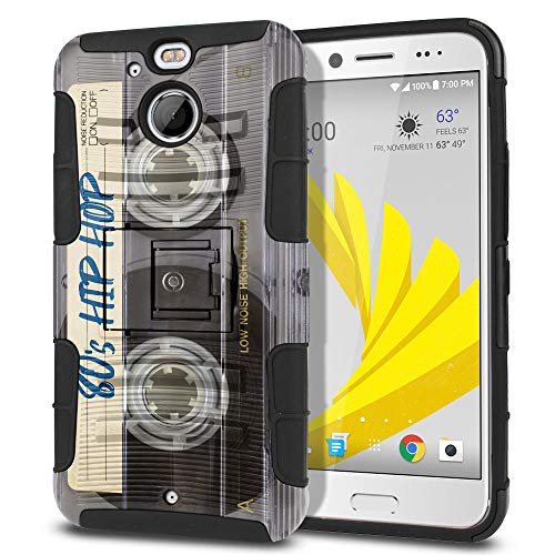 FINCIBO Case Compatible with HTC Bolt / 10 Evo 5.5 inch, Dual Layer Hybrid Curve Rigid Armor Heavy Duty Protector Case Cover Kickstand Soft TPU for HTC Bolt - Retro Clear Cassette Tape Hip Hop ()