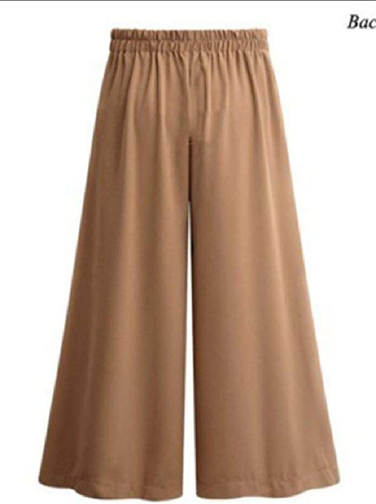 AngelSpace Womens Draped Belted High-Waisted Culottes Trousers Tenths Pants with Pockets