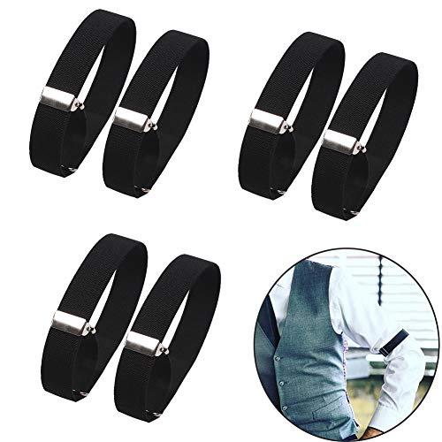 Luckycivia 3 Pairs Black Elastic Adjustable Armbands, Shirt Garters Sleeve Holders, Hold Anti-Slip Shirt Sleeve Holders