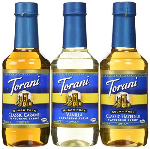 Torani Sugar Free Syrup 3 Flavor Variety 1 each Sugar Free Hazelnut, Sugar Free Vanilla, and Sugar Free Caramel, 12.2 Fl. Oz. Ea.