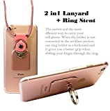 AccessoryHappy Universal 2 in 1 Phone Lanyard & Ring Stent, Cell Phone Tether Neck strap Holder Ring Stent Kickstand For iPhone 5 6 6S 7 8 8 Plus Galaxy S7 Note 3 4 5 and Other Mobile Phones (Pink)
