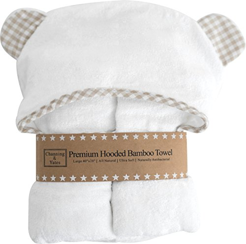 Premium Baby Hooded Towel and Washcloth Set | Organic Bamboo 2x as (Organic Hooded Towel Set)