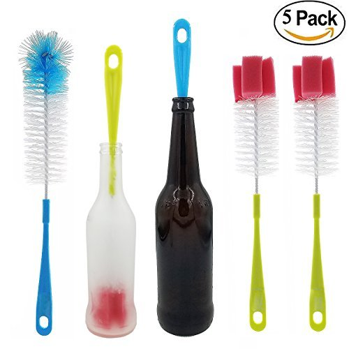 Stemware Brush (5 pack Long Bottle Brush Cleaner and Straw Brushes or Dish Brush | Bottle Brush with Straw Cleaners for Washing Baby Bottle, Water Bottles, Mugs, Wine Stemware, Hummingbird Feeder)