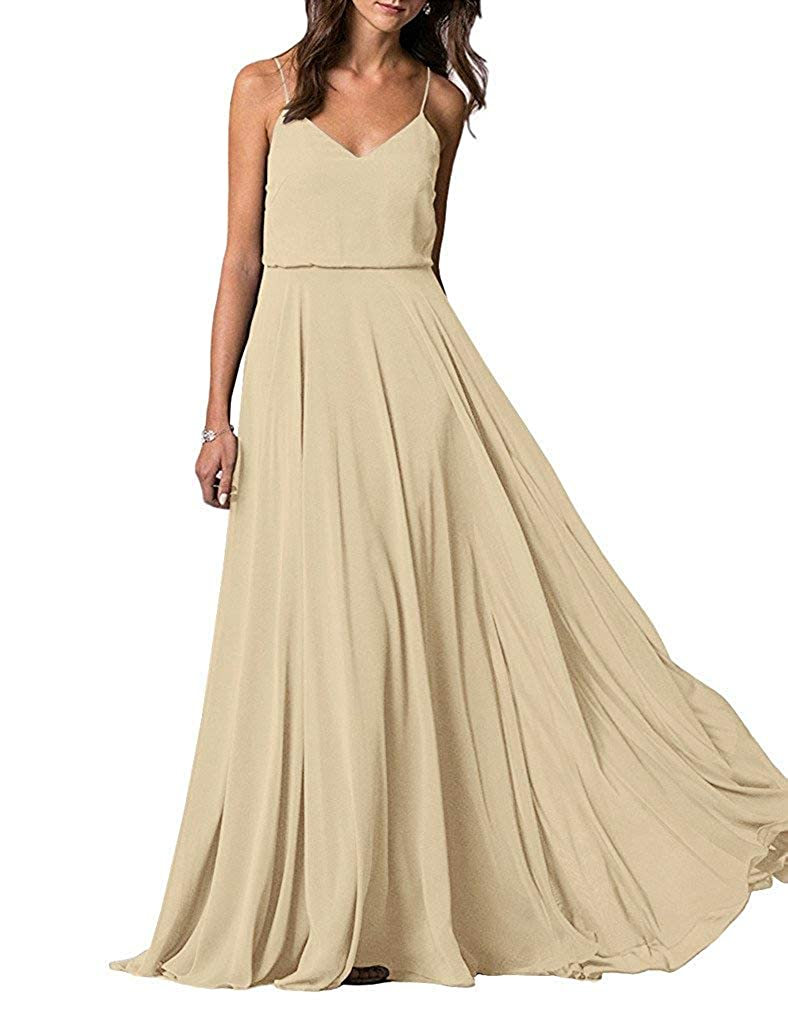 Champagne YUSHENGSM Spaghetti Straps VNeck Long Bridesmaid Dress Wedding Beach Prom Skirt