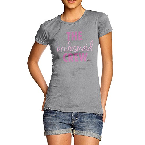 Bridesmaid Light Womens T-shirt (TWISTED ENVY Womens Humor Novelty Graphic Funny T Shirt The Bridesmaid Crew Small Light Grey)