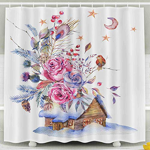 - HerysTa Kids Shower Curtain, Waterproof Non-Toxic Room Partition Curtain Thickening Curtain Watercolor Floral Greeting Card House Vintage Roses Twigs Spruce Bathroom Shower Curtain 78X72 Inch