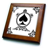 3dRose ft_218673_1 Ace of Spade Playing Cards Poker White and Black Popular Image Framed Tile, 8'' x 8''