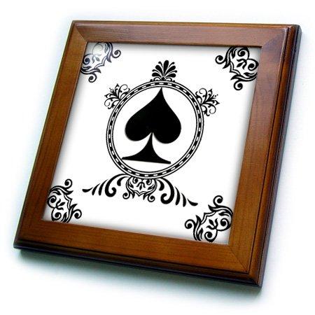 (3dRose ft_218673_1 Ace of Spade Playing Cards Poker White and Black Popular Image Framed Tile, 8